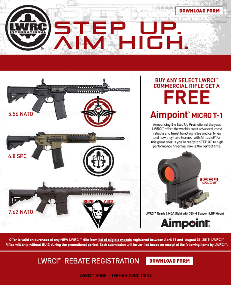 """LWRC Launches """"Step Up-Aim High"""" Free Aimpoint Micro T-1"""