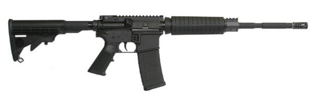 Black ArmaLite Defender AR-15 rifle