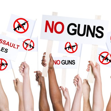 """People holding signs that read """"no guns"""""""