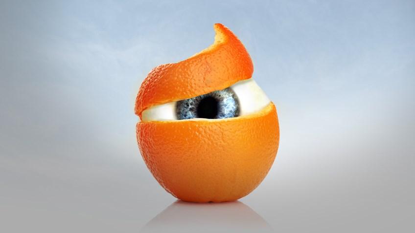 Orange peel revealing an eyeball