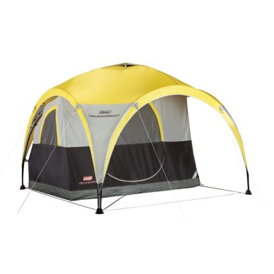 2-for-1 black and gray tent with yellow rainfly/day shelter