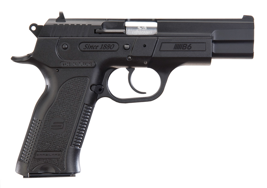Black, full-sized 9mm pistol