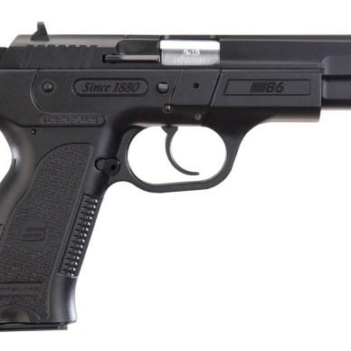 Black, full-sized 9mm pistol