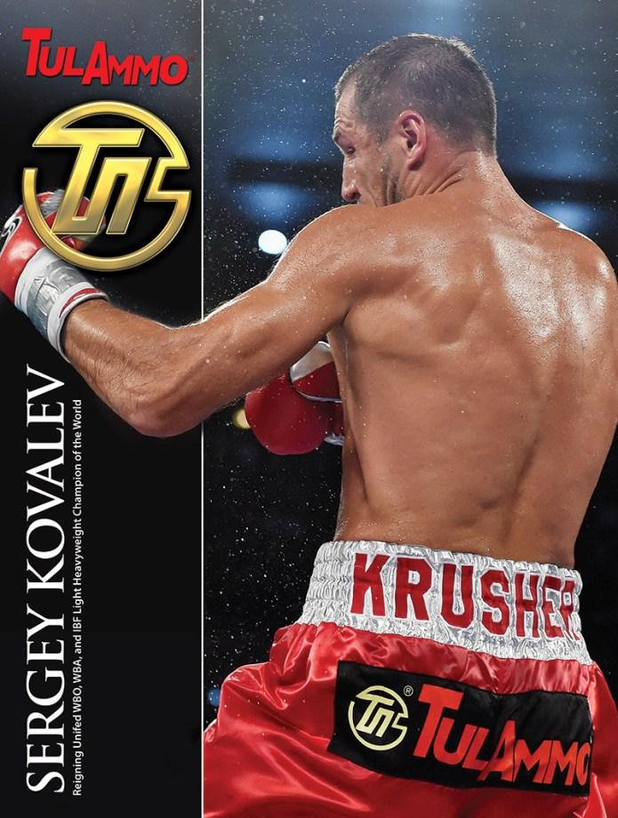 Undefeated championship boxer, Sergey Kovalev wearing trunks with TualAmmo logo