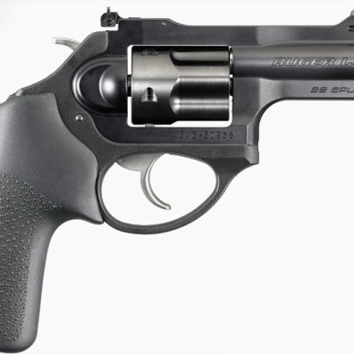 Ruger LCRx revolver with 3-inch barrel and black Hogue rubber grip