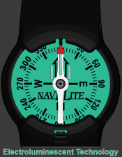 The NavELite compass is backlit for low-light situations