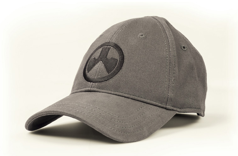 Picture shows a charcoal gray baseball cap with a black Magpul logo on the front.