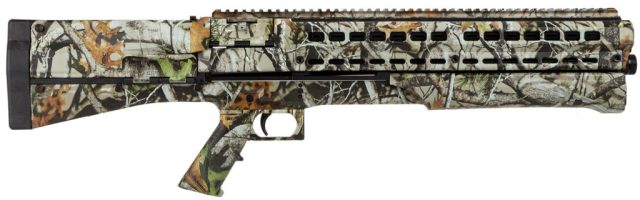 Picture shows a bullpup design pump action shotgun in Next G1 camo.