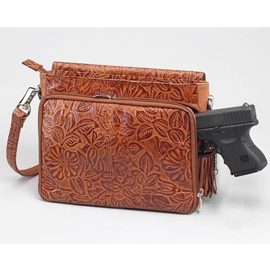 Rich brown etched leather concealed carry shoulder bag