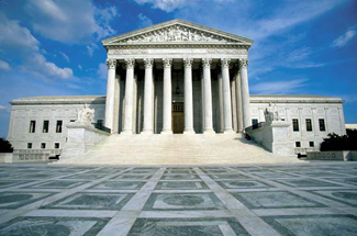 The front view of the Supreme Court building