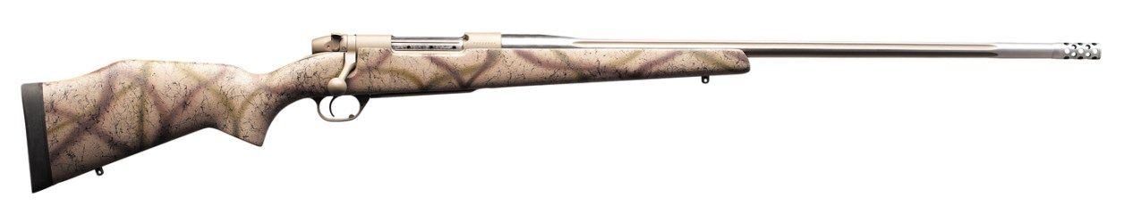 bolt-action rifle from Weatherby finished in a brown camo