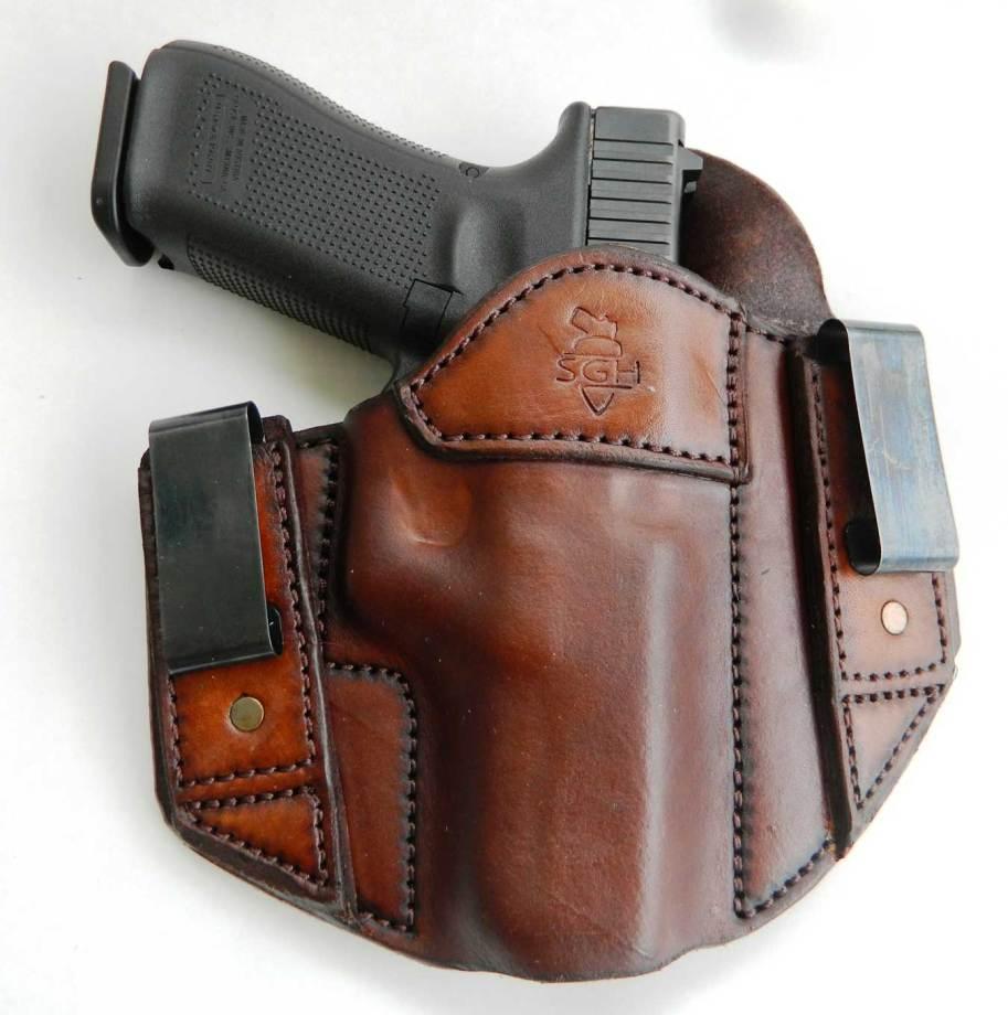 Sideguard inside the waistband leather holster