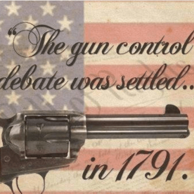 Gun control debate revolver over ghosted flag image
