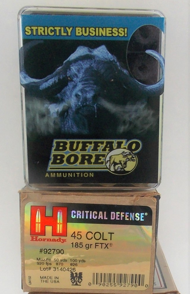Buffalo Bore and Hornady Critical Defense .45 Colt ammunitions