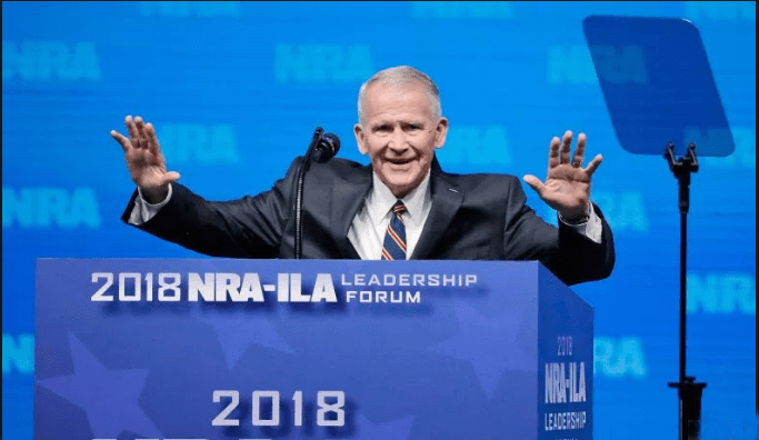 Oliver North speaking at the 2018 NRA convention