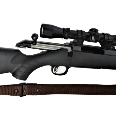 Ruger American rifle with the bolt open
