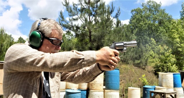 Bob Campbell shooting the smith and wesson 686 plus revolver right