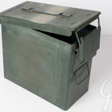 Picture shows a metal army surplus ammo can.