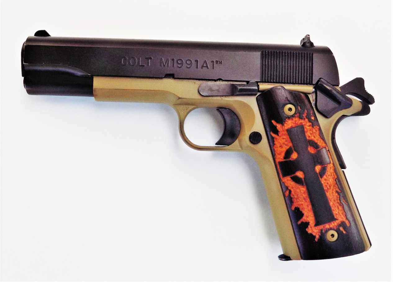 Colt 1991A1 pistol left profile with Celtic cross grip