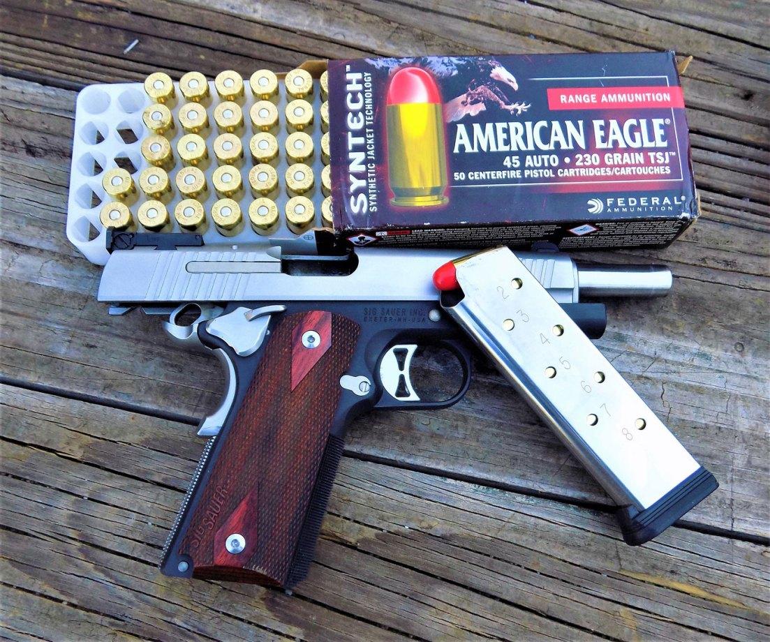SIG Sauer 1911 handgun with Federal Syntech ammunition