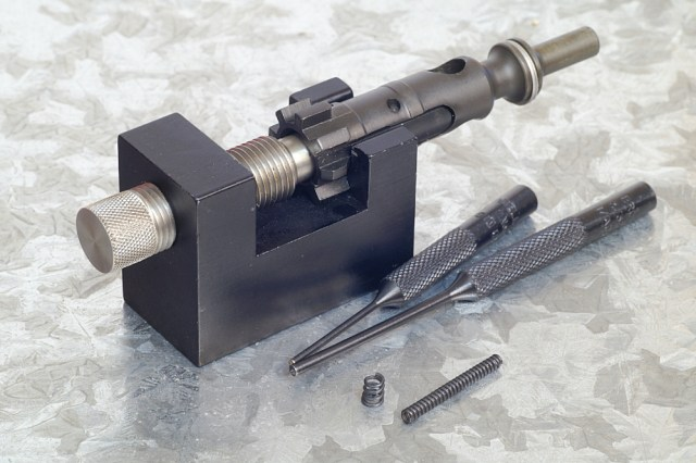 Bolt vise with AR-15 bolt locked in