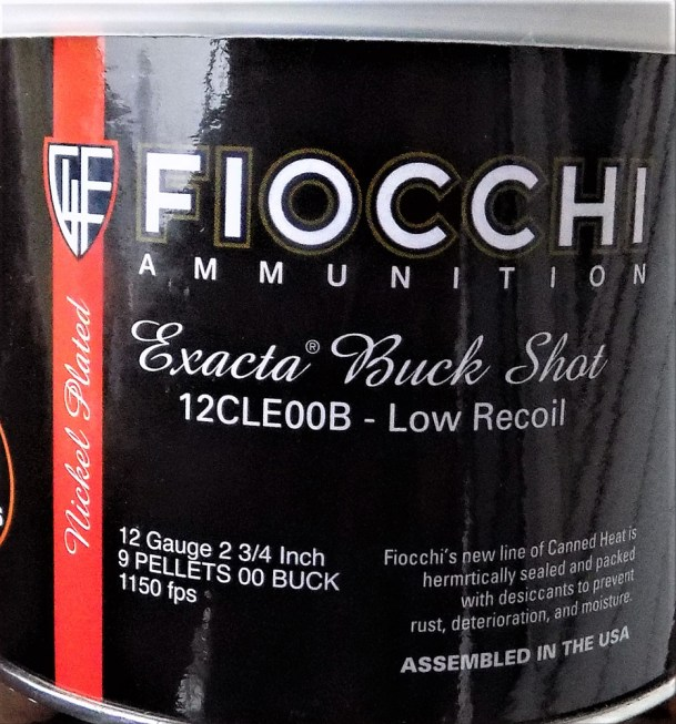 Fiocchi 12 gauge reduced recoil buckshot ammunition can