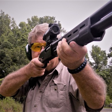 Bob Campbell shooting the Remington 870 shotgun with a TruGlo sight