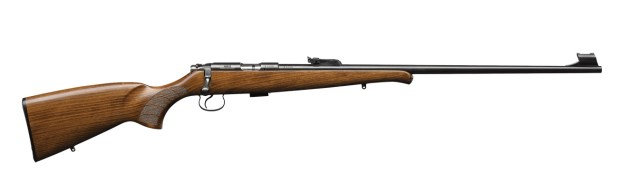 CZ 452 rifle with wood stock right profile