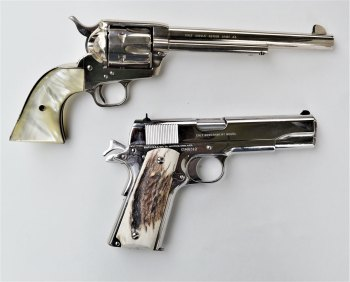 .45 revolver and .45 ACP semi-automatic handguns