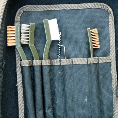 Brushes and picks for cleaning a rifle