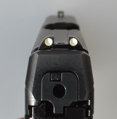 Dual rear white dot sights on the Walther PPS pistol