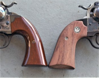 Two wood revolver grips