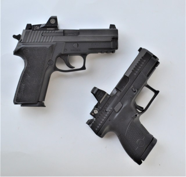 SIG double action first shot pistol and striker-fired CZ P10
