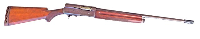 Browning A5 shotgun 21-inch barrel length with a wood stock and foregrip right profile