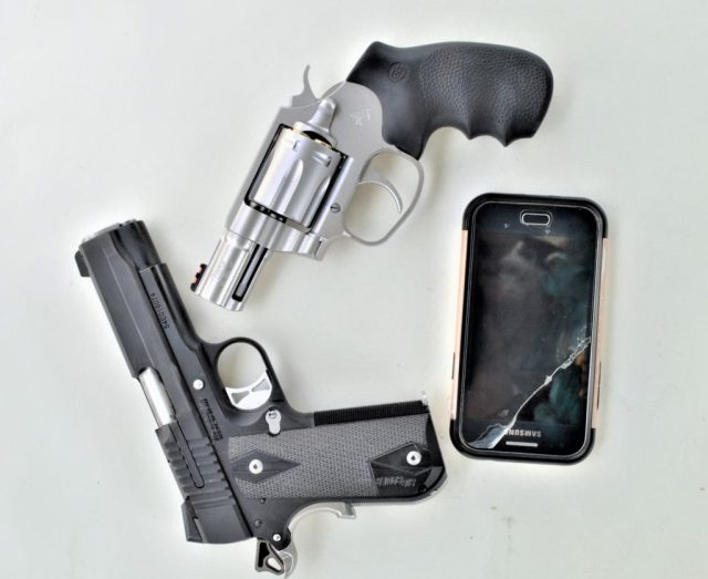 home defense guns and cell phone