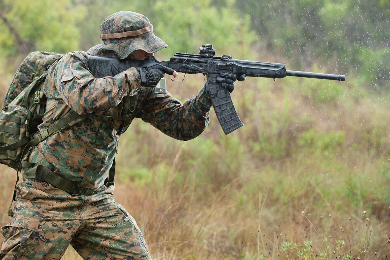 waterproof gun in action