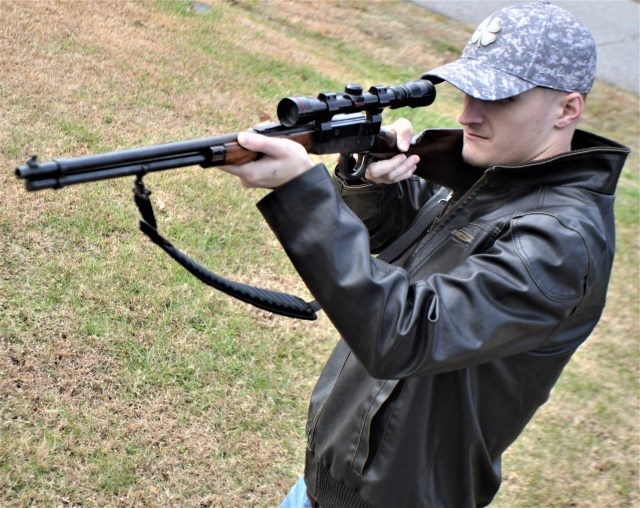 Shooting Winchester Lever-Action Rifle