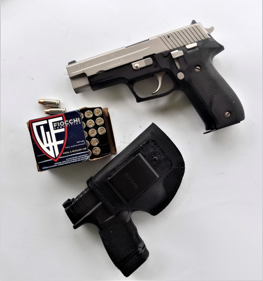 Fiocchi 9mm Luger ammo with two handguns