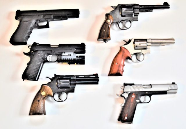 Six guns, both revolvers and semi-autos