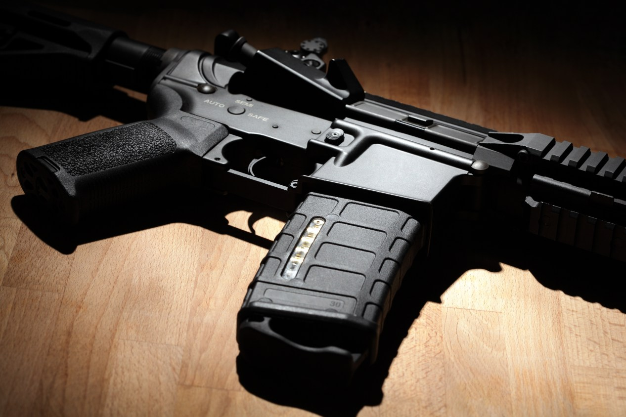 AR-15 M-15 on Wood Background