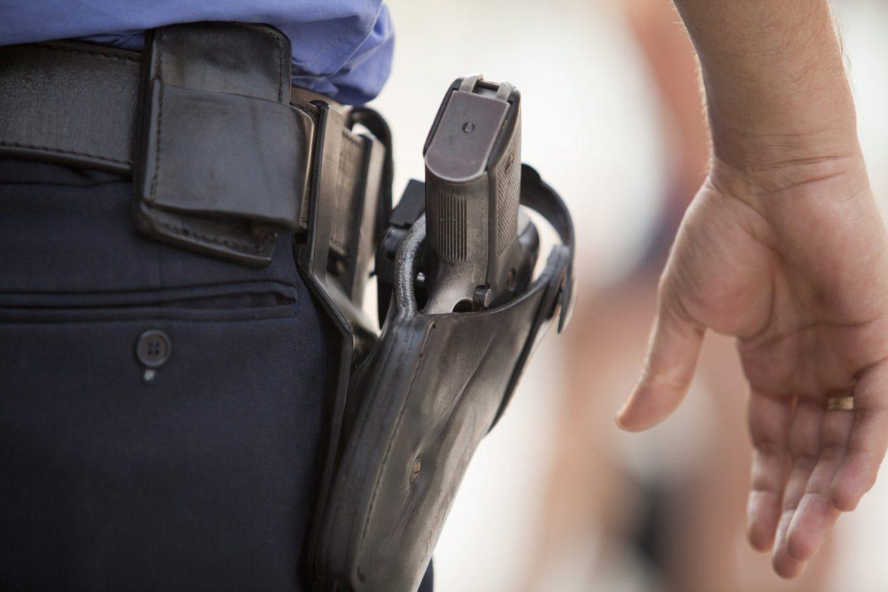police gun in holster