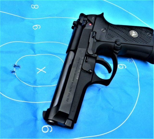 Pistol on test target