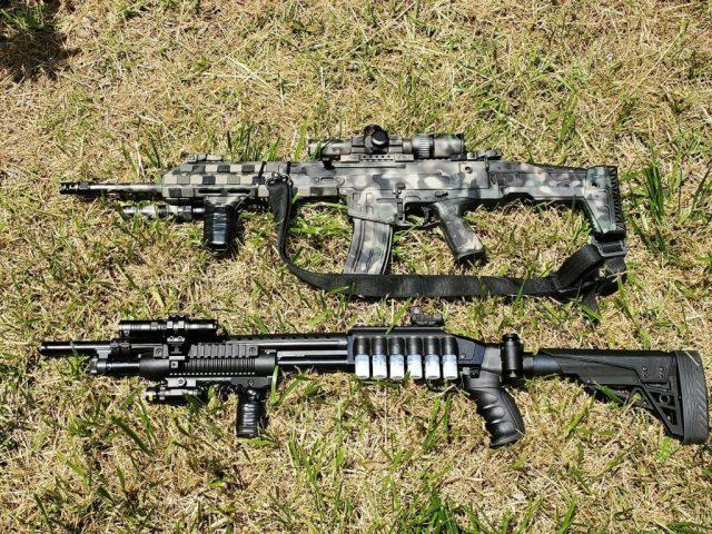 Rifle and Shotgun on Ground