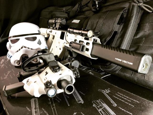 White Kriss Vector and GLOCK Roni with Stormtrooper Helmet