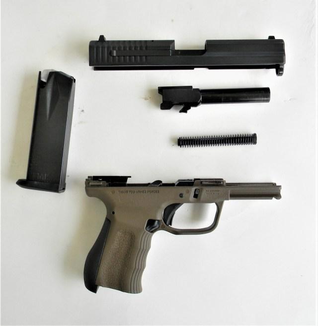 Disassembled FMK 9C1 G2 pistol