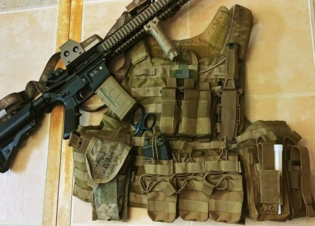 AR-15 on Plate Carrier with Gear