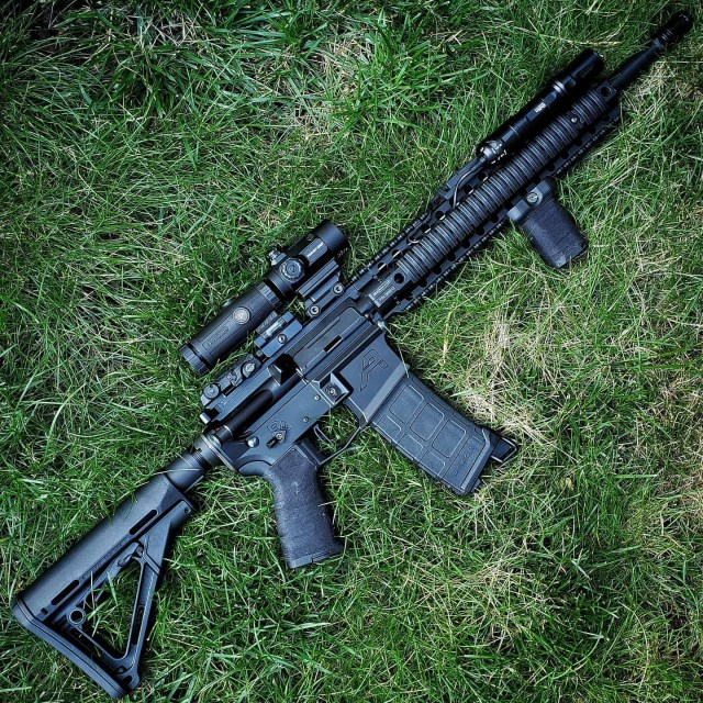 AR-15 rifle with scope and light on grass