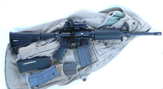 AR and mags on range bag