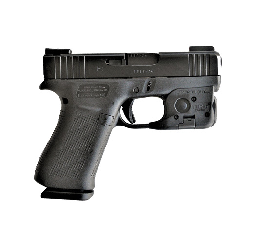 Glock 43x right profile with Streamlight TRL 6 weapon light