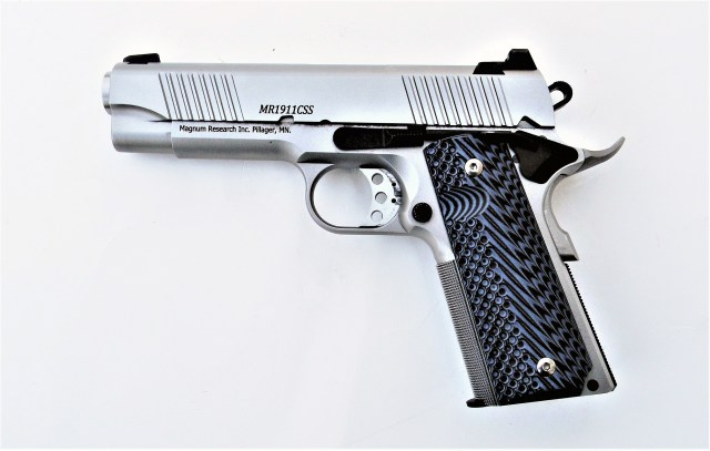 Magnum Research 10mm 1911 pistol with G10 grips left profile